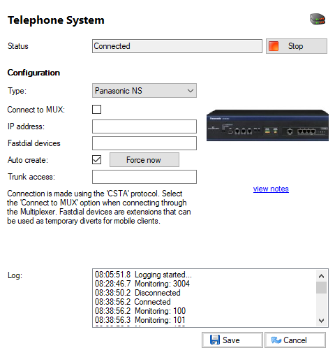 Telephone system page