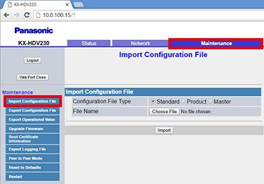 Import configuration file settings